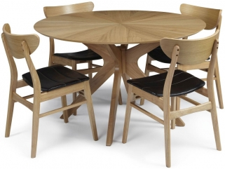 Serene Bexley Oak Dining Set - Round with 4 Camden Oak Chairs