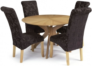 Serene Bexley Oak Dining Set - Round with 4 Kingston Aubergine Floral Fabric Dining Chairs