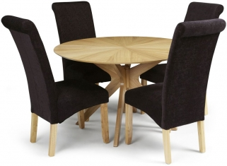 Serene Bexley Oak Dining Set - Round with 4 Kingston Aubergine Plain Fabric Dining Chairs