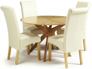 Serene Bexley Oak Dining Set - Round with 4 Kingston Cream Faux Leather Dining Chairs