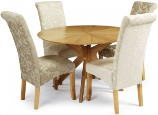 Serene Bexley Oak Dining Set - Round with 4 Kingston Sage Floral Fabric Dining Chairs