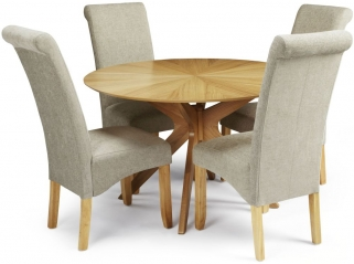 Serene Bexley Oak Dining Set - Round with 4 Kingston Sage Plain Fabric Dining Chairs