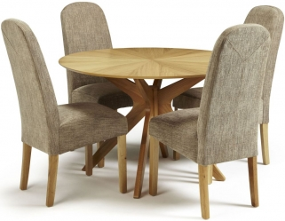 Serene Bexley Oak Dining Set - Round with 4 Marlow Bark Chairs