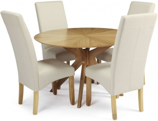 Serene Bexley Oak Dining Set - Round with 4 Merton Putty Chairs