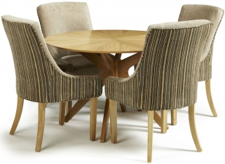 Serene Bexley Oak Dining Set - Round with 4 Richmond Sand Mink Chairs