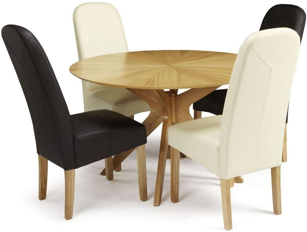 Serene Bexley Oak Dining Set - Round with 2 Marlow Black and 2 Cream Faux Leather Chairs