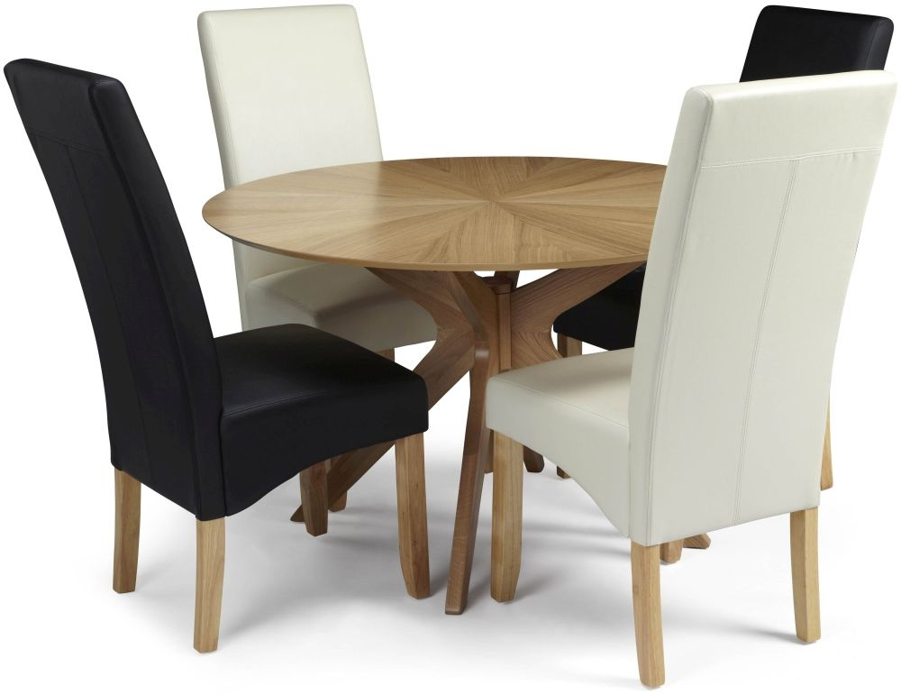Serene Bexley Oak Dining Set - Round with 2 Merton Black and 2 Cream Faux Leather Chairs