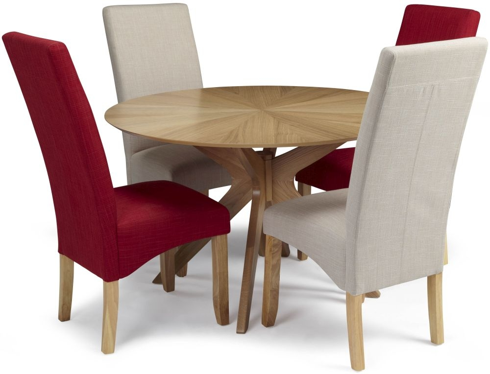 Serene Bexley Oak Dining Set - Round with 2 Merton Scarlet and 2 Stone Chairs
