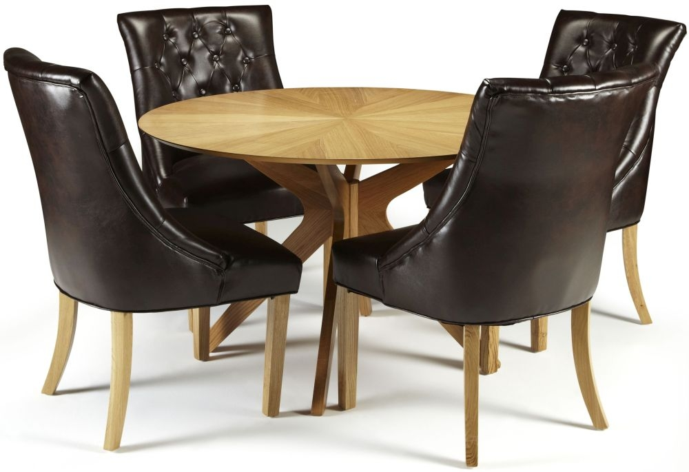 Serene Bexley Oak Dining Set - Round with 4 Hampton Brown Leather Chairs