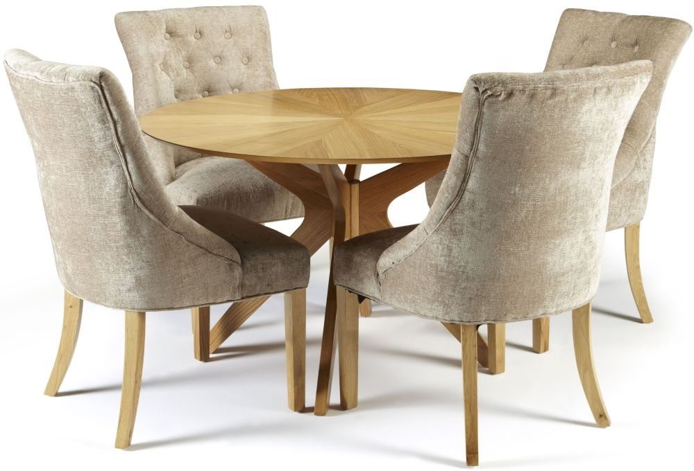Bon Serene Bexley Oak Round Dining Set With 4 Hampton Mink Fabric Chairs   120cm