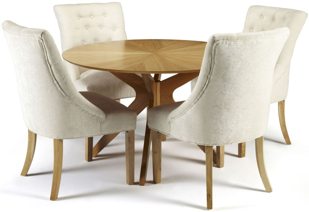 Serene Bexley Oak Dining Set - Round with 4 Hampton Pearl Fabric Chairs