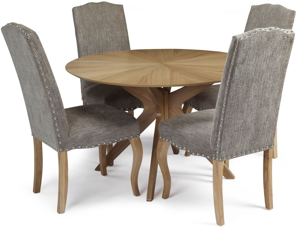 Serene Bexley Oak Dining Set - Round with 4 Kensington Bark Fabric Dining Chairs