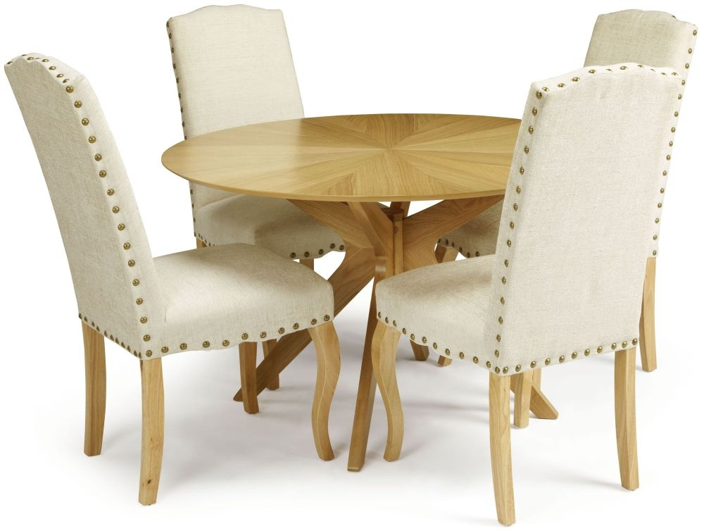 Serene Bexley Oak Dining Set - Round with 4 Kensington Pearl Fabric Dining Chairs