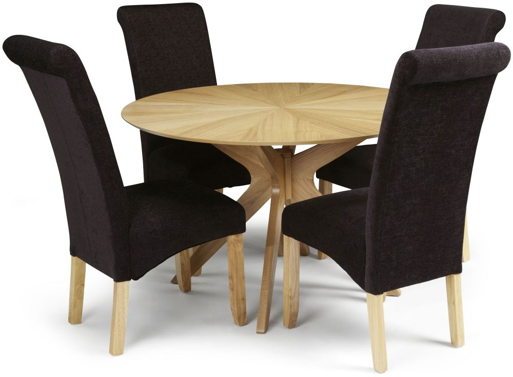 Serene Bexley Oak Round Dining Set with 4 Kingston Aubergine Plain Fabric Chairs - 120cm