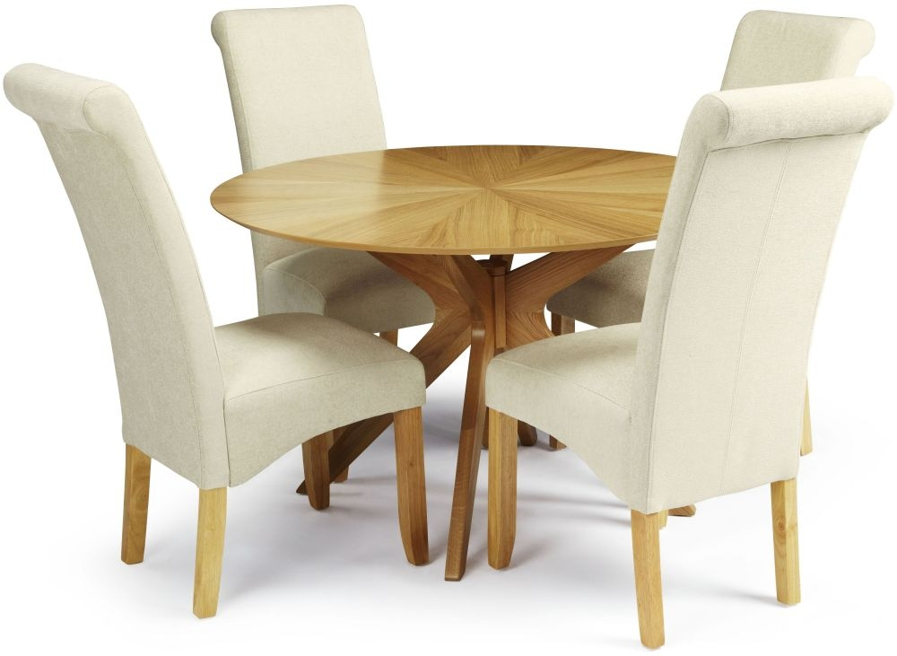 Serene Bexley Oak Dining Set - Round with 4 Kingston Cream Plain Fabric Dining Chairs