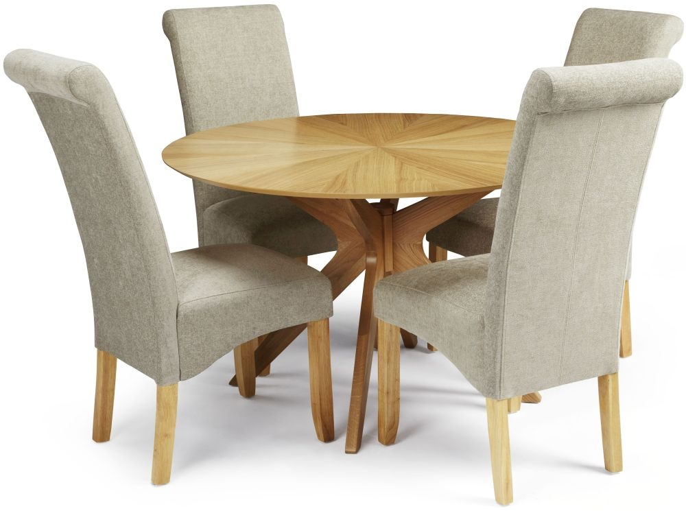 Serene Bexley Oak Dining Set Round with 4 Kingston Sage  : 3 Serene Bexley Oak Dining Set Round with 4 Kingston Sage Plain Fabric Dining Chairs from choicefurnituresuperstore.co.uk size 1000 x 745 jpeg 213kB