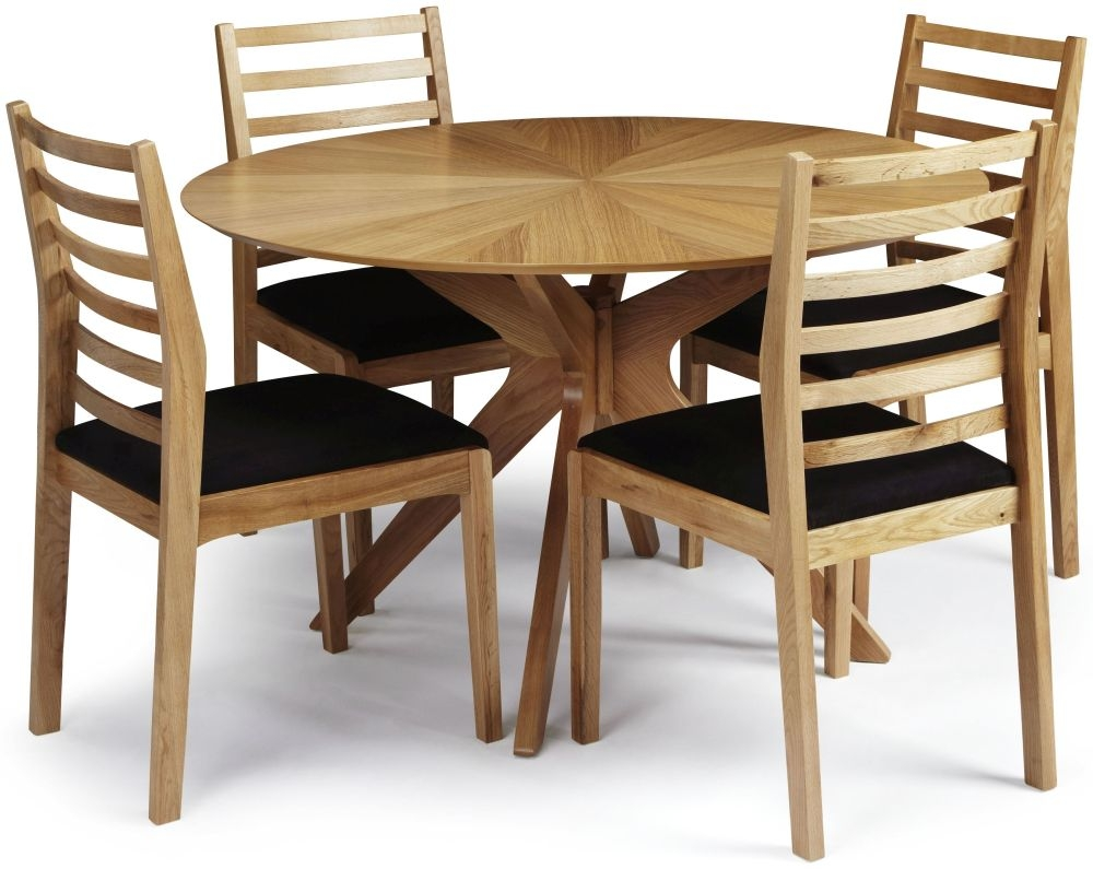 Serene Bexley Oak Dining Set - Round with 4 Lewisham Chairs