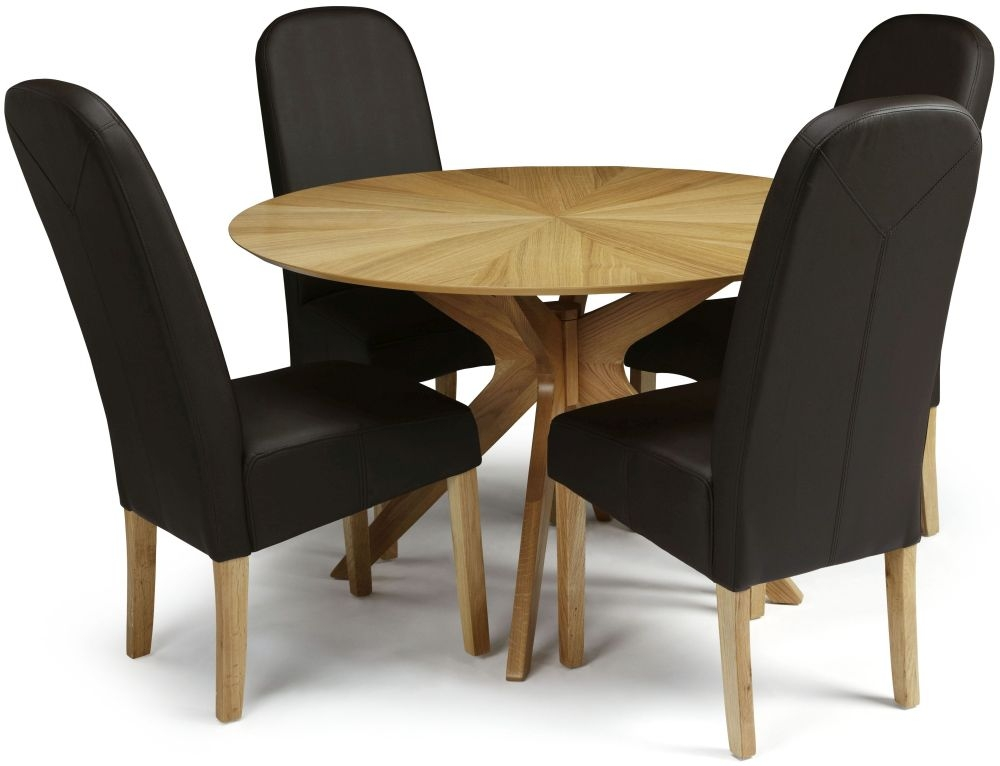 Serene Bexley Oak Dining Set Round With 4 Marlow Brown Faux Leather Chairs