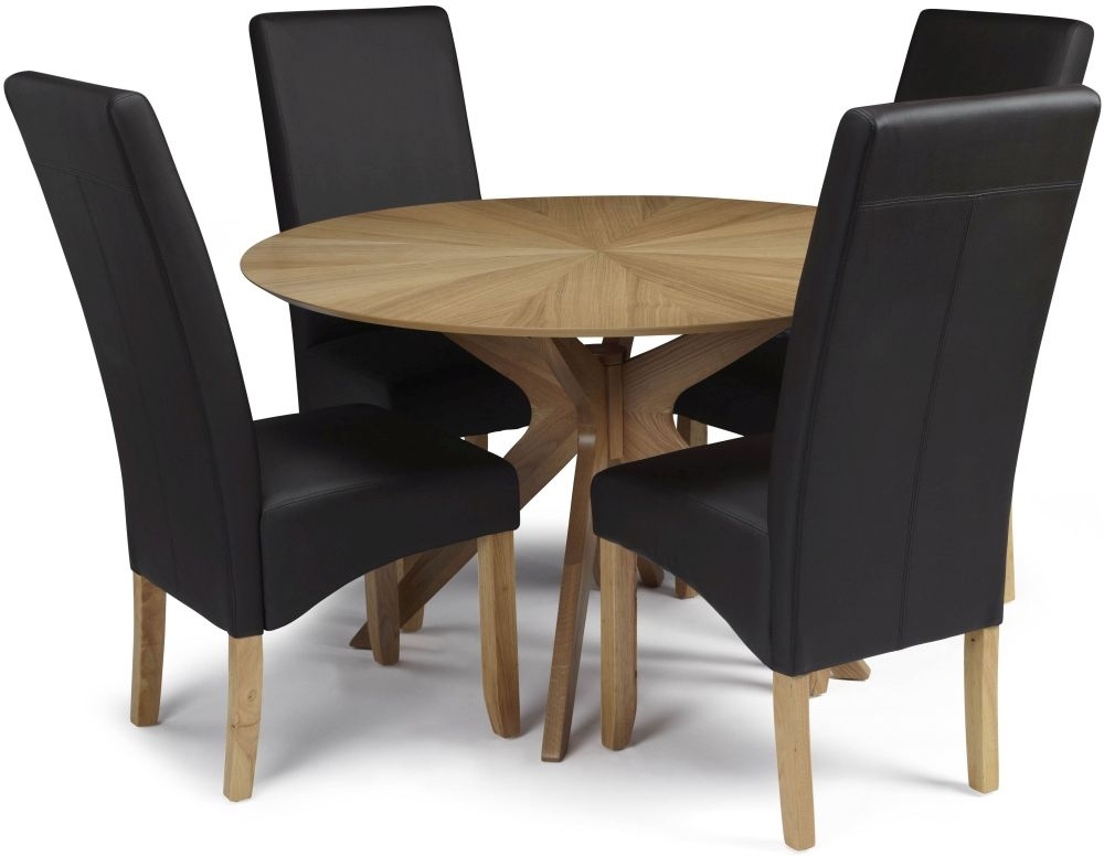 Serene Bexley Oak Dining Set - Round with 4 Merton Brown Faux Leather Chairs
