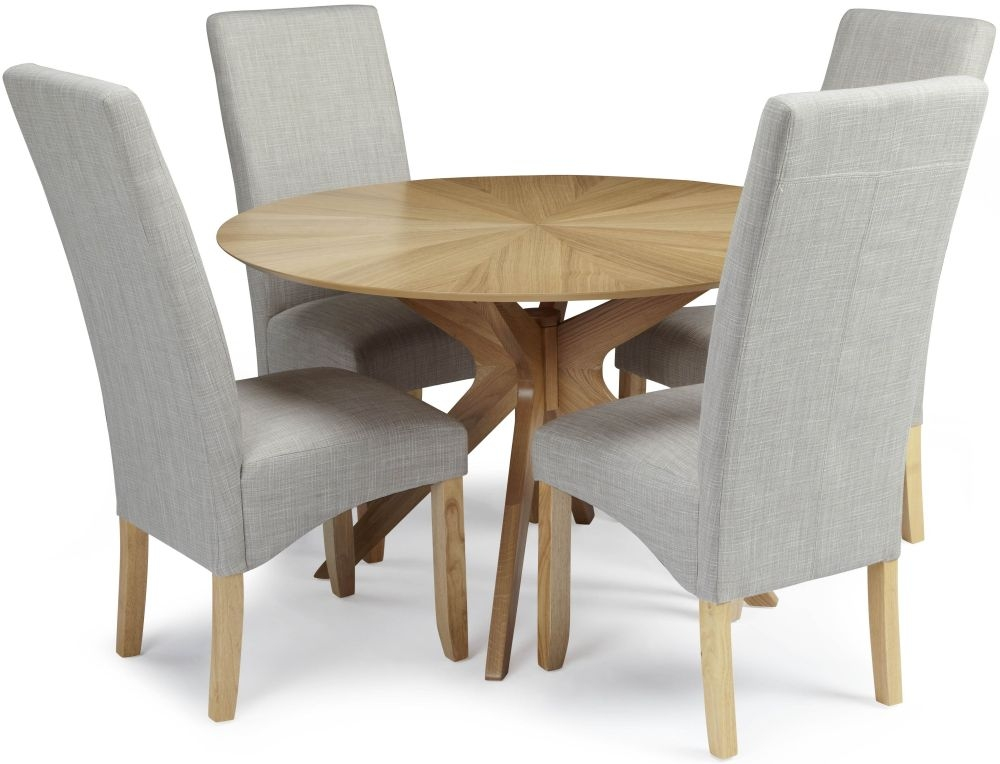 Serene Bexley Oak Dining Set - Round with 4 Merton Linen Chairs