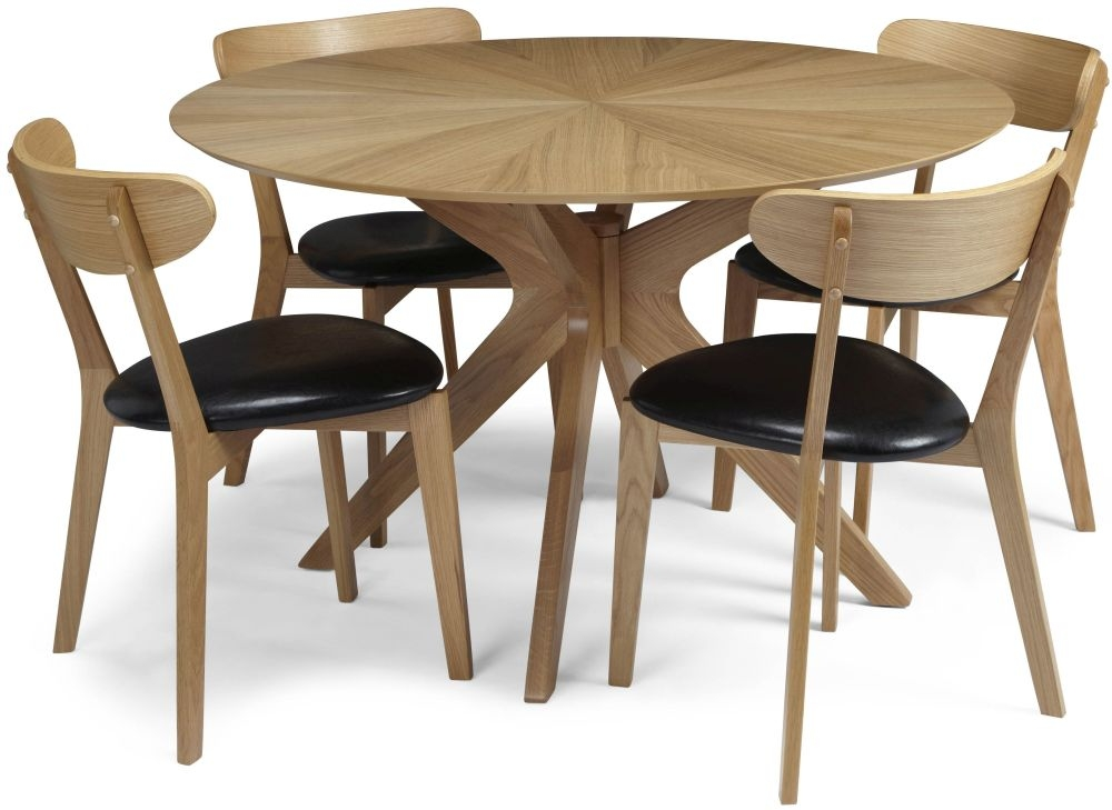 Serene Bexley Oak Dining Set - Round with 4 Newham Chairs