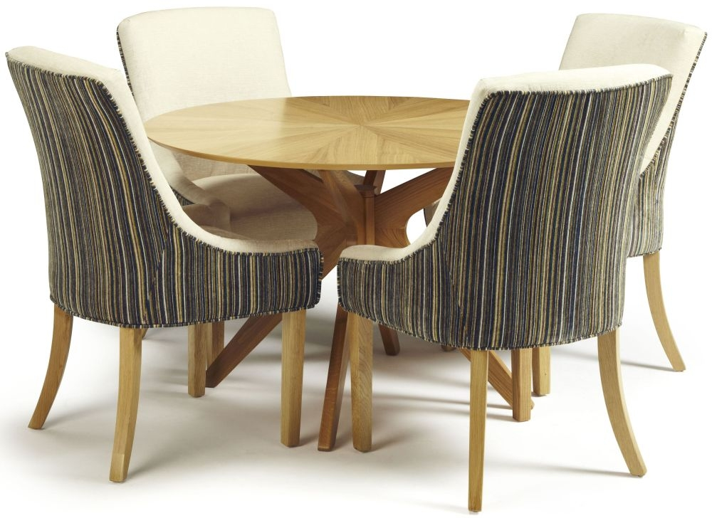Serene Bexley Oak Dining Set - Round with 4 Richmond Aubergine Pearl Chairs