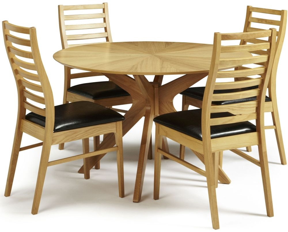 Serene Bexley Oak Dining Set - Round with 4 Wandsworth Chairs
