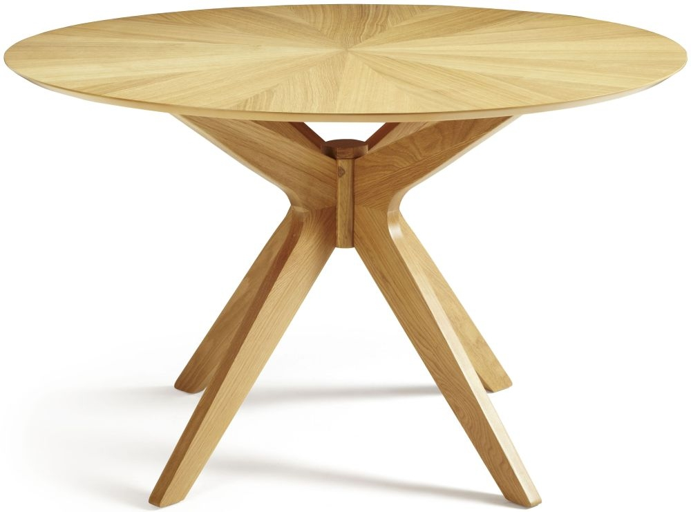 Buy serene bexley oak dining table round fixed top for Cheap round wooden dining tables