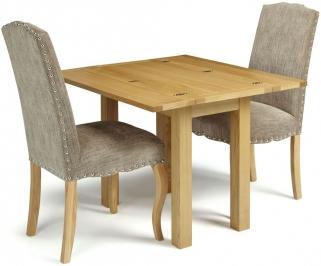 Serene Brent Oak Dining Set - Extending with 2 Kensington Bark Chairs