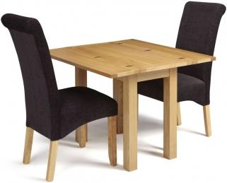 Serene Brent Oak Dining Set - Extending with 2 Kingston Aubergine Plain Fabric Dining Chairs