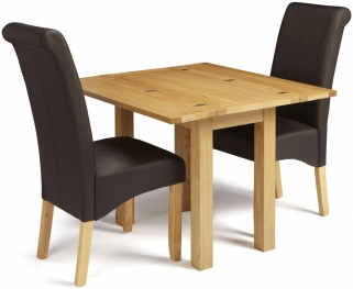 Serene Brent Oak Dining Set - Extending with 2 Kingston Brown Faux Leather Dining Chairs