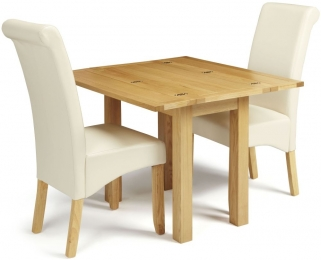 Serene Brent Oak Dining Set - Extending with 2 Kingston Cream Faux Leather Dining Chairs