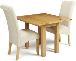 Serene Brent Oak Dining Set - Extending with 2 Kingston Cream Plain Fabric Dining Chairs