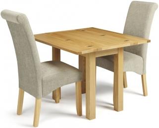 Serene Brent Oak Rectangular Extending Dining Set With 2 Kingston Sage  Plain Fabric Chairs   45cm