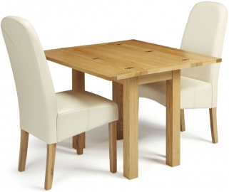 Serene Brent Oak Dining Set - Extending with 2 Marlow Cream Faux Leather Chairs