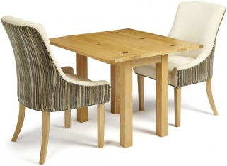 Serene Brent Oak Dining Set - Extending with 2 Richmond Aubergine Pearl Chairs