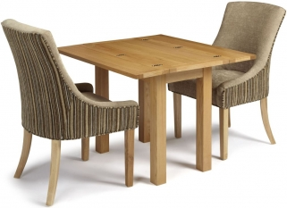 Serene Brent Oak Dining Set - Extending with 2 Richmond Sand Mink Chairs