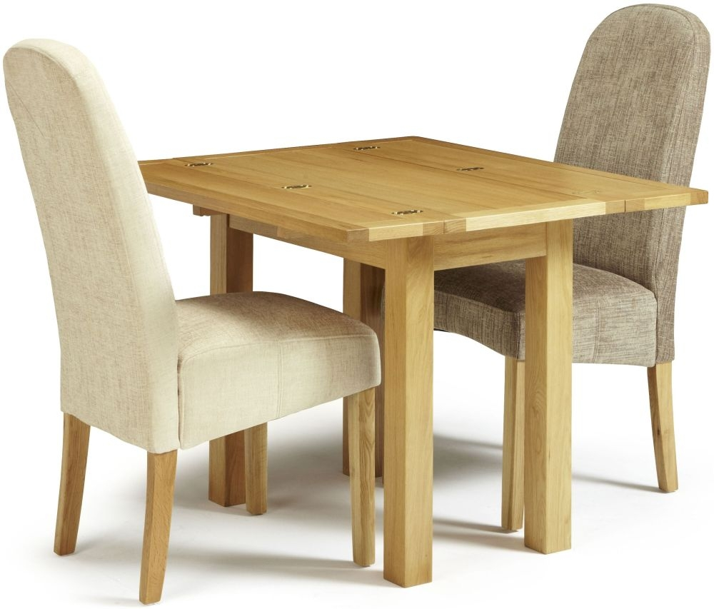Serene Brent Oak Dining Set - Extending with 1 Marlow Bark and 1 Pearl Chairs