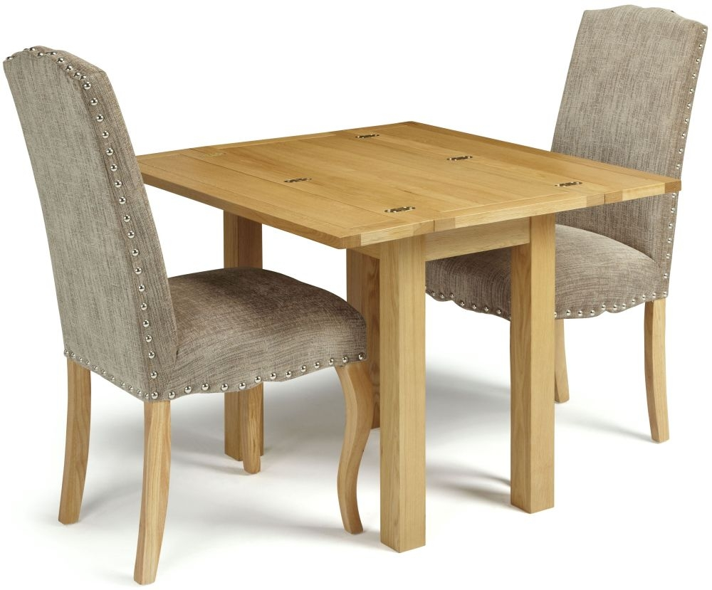 Serene Brent Oak Dining Set - Extending with 2 Kensington Bark Chairs