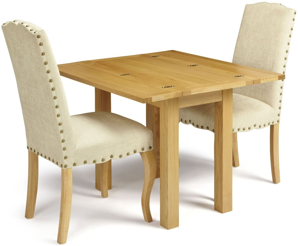 Serene Brent Oak Dining Set - Extending with 2 Kensington Pearl Chairs
