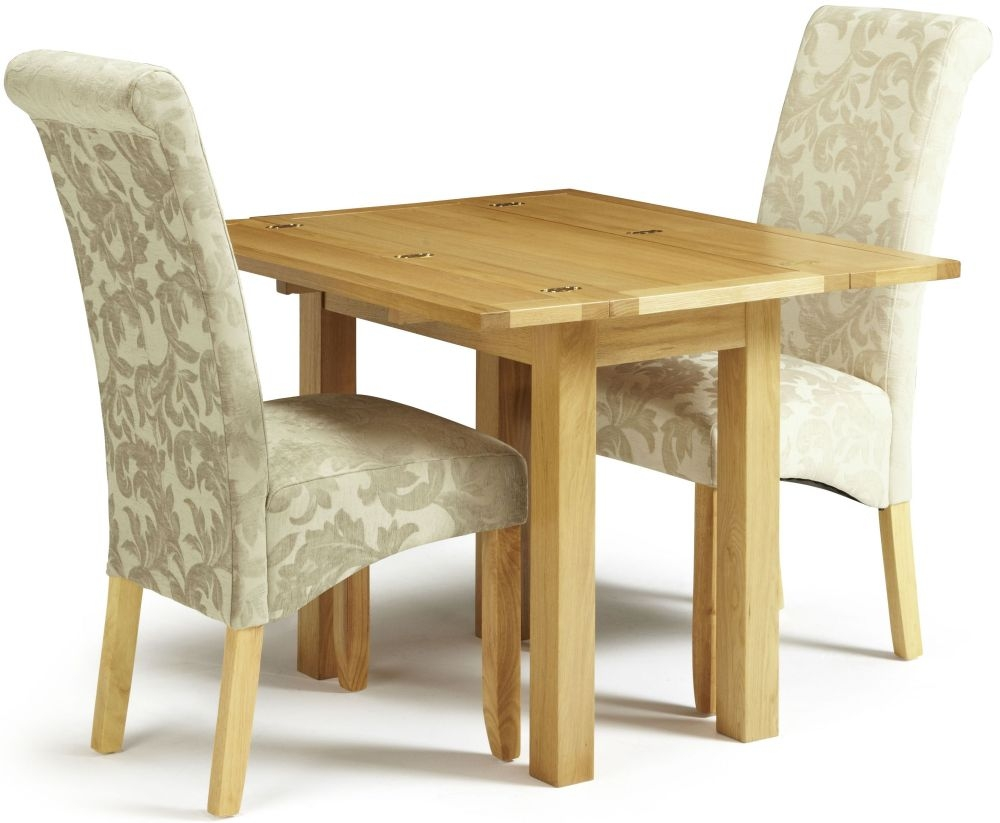 Serene Brent Oak Dining Set - Extending with 2 Kingston Cream Floral Fabric Dining Chairs