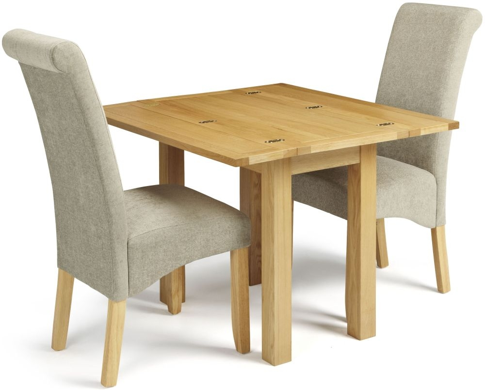 Serene Brent Oak Flip Top Dining Table and 2 Sage Fabric Kingston Chairs