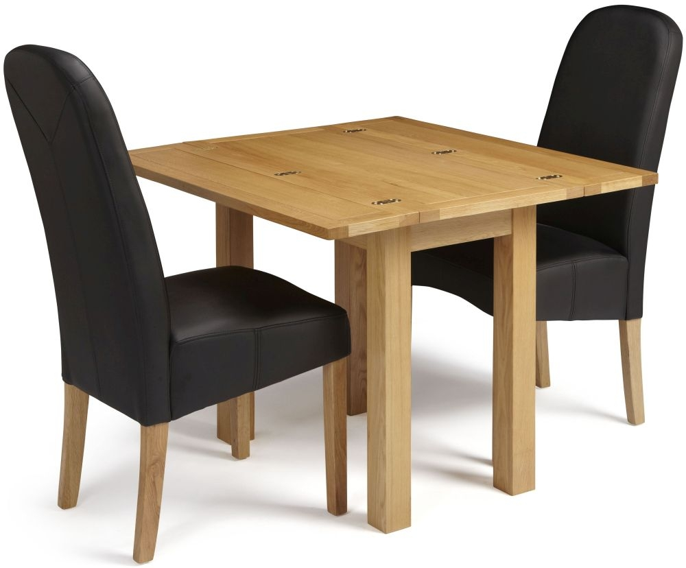 Serene Brent Oak Dining Set - Extending with 2 Marlow Black Faux Leather Chairs
