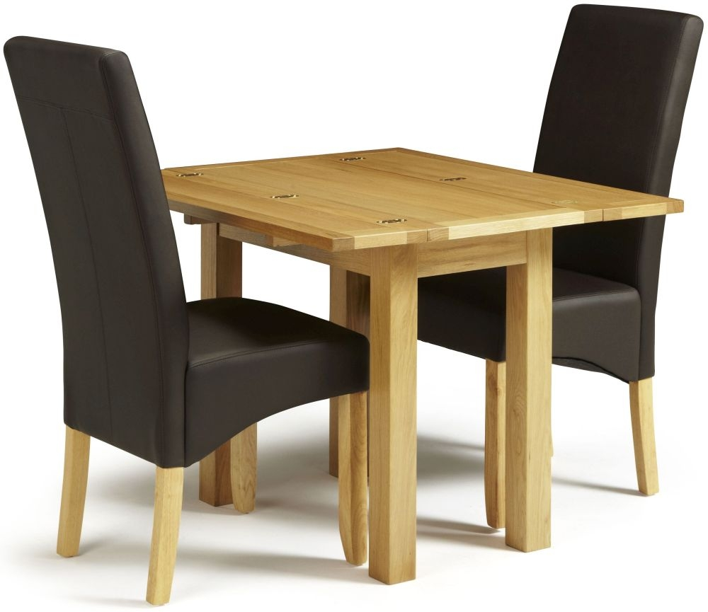 Serene Brent Oak Dining Set - Extending with 2 Merton Brown Faux Leather Chairs