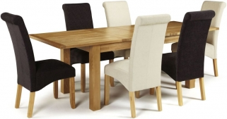 Serene Bromley Oak Dining Set - Extending with 3 Kingston Cream Plain and 3 Aubergine Plain Chairs
