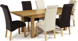 Serene Bromley Oak Dining Set - Extending with 3 Kingston Cream Plain and 3 Aubergine Plain Chairs