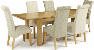 Serene Bromley Oak Dining Set - Extending with 3 Kingston Sage Floral and 3 Cream Floral Chairs