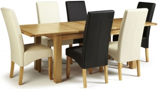 Serene Bromley Oak Dining Set - Extending with 3 Merton Black and 3 Cream Faux Leather Chairs