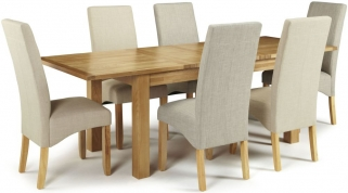 Serene Bromley Oak Dining Set - Extending with 3 Merton Linen and 3 Stone Chairs