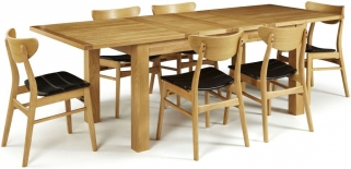 Serene Bromley Oak Dining Set - Extending with 6 Camden Oak Chairs